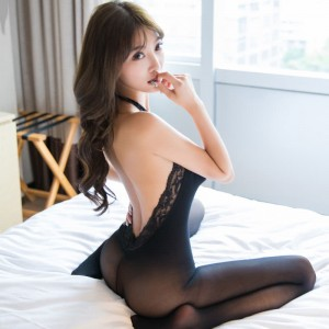 Lumu open back halter open file stockings free perspective bodysuit tights temptation passion