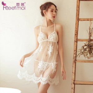 Amour sexy lingerie new temptation see-through tulle pajamas sexy sexy open-back lace strap night skirt