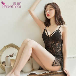 Amazing sexy lingerie female perspective temptation backless deep v-neck sexy pajamas women summer strap lace nightdress