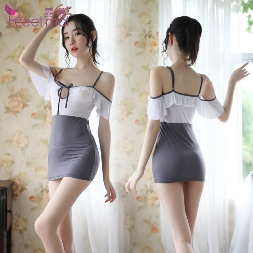 Amour sexy lingerie women's strapless bag hip dress perspective temptation sexy pajamas nightdress set