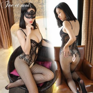 Sexy lingerie hollow deep V open crotch conjoined stockings perspective clothes passion set women